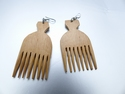 Wooden Afropick earrings
